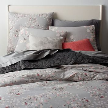Organic Vine Lattice Duvet Cover + Shams - Vintage Rose
