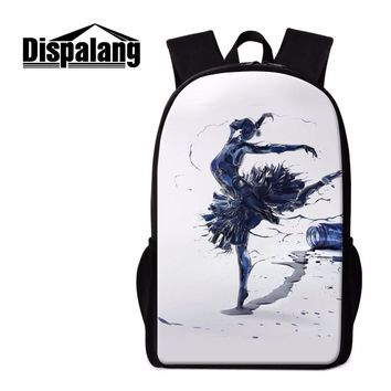 Dispalang Popular Dancing Ballet Girl Print School Backpacks For Teenagers 16-inch Custom Backpack Children School Bags Bookbag
