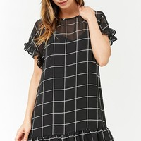 Sheer Grid Shift Dress