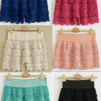 Knitted Crochet Tiered Mini Shorts