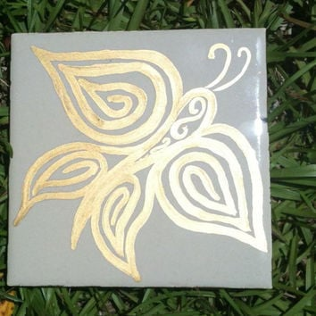 Gold Butterfly Whimsical Victorian Style Garden Stepping Stone
