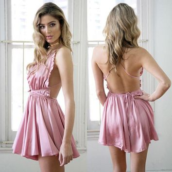 Sexy Spaghetti Strap Autumn Spring Summer Women's Playsuits Jumpsuits Rompers Ruffles Pink New 2017