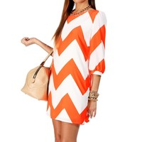 Neon Coral/White Chevron Dress