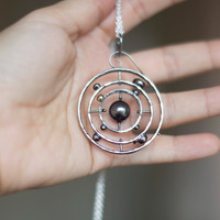 Solar System Necklace Pendant with 14K Gold Earth - Spinning Solar System 925 Sterling Silver- Geeky Jewlery