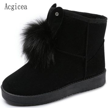 Size36-40 2017 New Women Ankle Snow Boots Cute Fur Exquisite Sewing Flat Heels Shoes Woman Winter Female Footwear With 4 colours