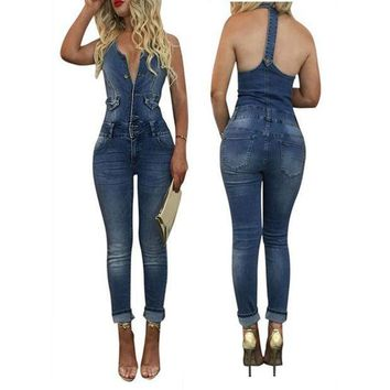 PEAP78W SOVOEVA Summer Cowboy Jumpsuit for Women Body Femme 2017 Fashion Sexy Skinny Sleeveless Long Overalls Women Rompers Clothes