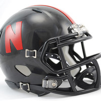 Nebraska Cornhuskers Replica Mini Helmet w/ Z2B Mask - Alternate Black