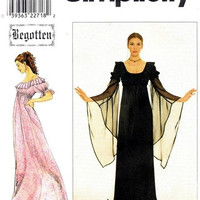 90s GOTHIC MEDIEVAL DRESS Pattern Short Long Flowing Sleeves Empire Waist Bust 29.5 30.5 31.5 Begotten Simplicity 8619 UNCuT Sewing Patterns