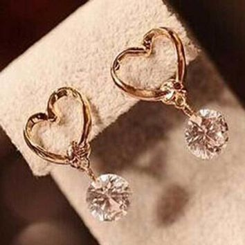 Love Heart Fine Zircon Earrings