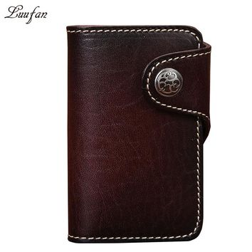 Vintage vegetable tanned leather key holder with metal leaf accessory Genuine leather key case with six key hooks fashion wallet