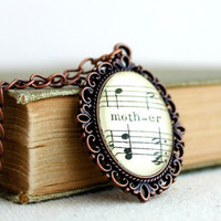 Mother necklace made with vintage sheet music.  Gift for mom, grandmother, daughter, mom to be. Vintage style necklace