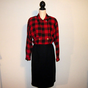Plaid Dress Size 12 Long Sleeve Dress Womens Red Black Plaid Dress Fall Buffalo Plaid Dress Office Clothing FREE SHIPPING Womens Clothing