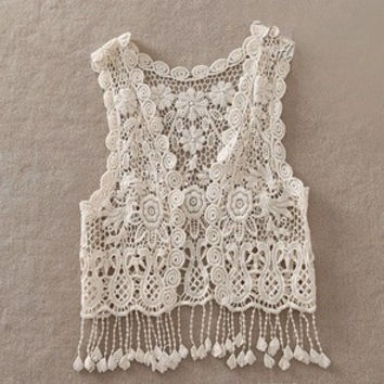 Children Tassels Vest Crochet Girls Pierced Loose Hook Flower Lace Knitted  Fringed Cardigan Conditioning