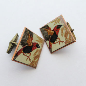 70s Copper Bird Cuff Links Red and Black Songbird Scarlet Tanager Woodland Rustic Accessories for Men