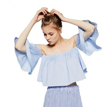 CREYET7 2016 Summer Style Fashion Women's Off Shoulder Smock Top Cute Brief Ruffles Girl's PETITE Structured Bardot Top Short Blouse