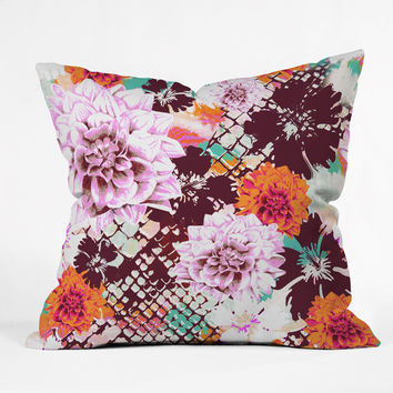 Aimee St Hill Croc And Flowers Orange Throw Pillow