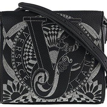 Versace EE1VRBBR5 Black Crossbody Bag with silk thread embroidery for Women