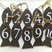 Wedding table numbers nautical ornament Wedding tags Fish decoration Black