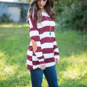 What A Patch Top, Burgundy