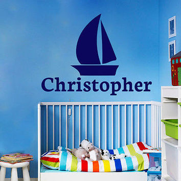 Name Wall Decal Vinyl Sticker Home Decor Baby Boy Nautical Nursery Bedroom LM7