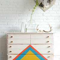 "Painted, white dresser with triangle detail : ""Enfys"""
