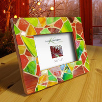 Red and Green Stained Glass Mosaic Picture Frame, Upcycled Wooden Frame, Red Green Holiday Decor