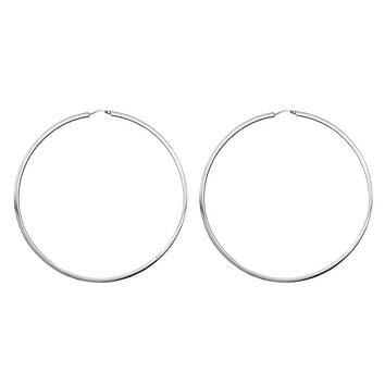 Sterling Silver Rhodium-Plated Large Square-Tubed EasyOn Hinged Endless Hoop Earrings (2mm Thick), 85mm