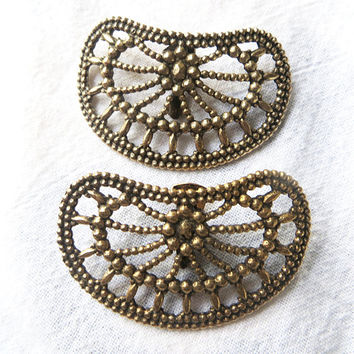 Vintage Shoe Clips Openwork Metal Beading Steel Cut Style Gold Tone Metal Shoe Accessories