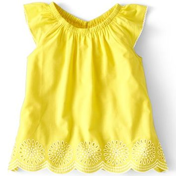 Mini Boden 'Broderie' Cotton Cambric A-Line Top (Toddler Girls)