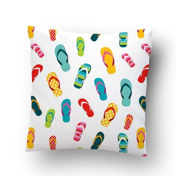 Flip Flops Throw Pillow Case from Surfer Bedding
