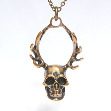Antler Skull of Cernunnos in Solid Bronze Antler and Skull Necklace 286