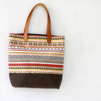 Tribal Tote Bag, Aztec print canvas bag, large tote bag, brown, orange and yellow, beach bag, canvas and leather bag
