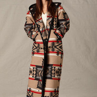 Womens Coats, Reversible Long Coat in Pendleton ® Black Diamond Wool Fabric