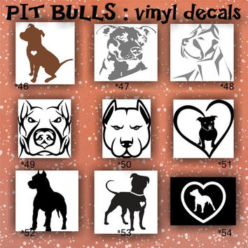 PIT BULLS vinyl decals - 46-54 - custom vinyl stickers - car decal - car sticker - pitts car stickers - pit bulls car decal