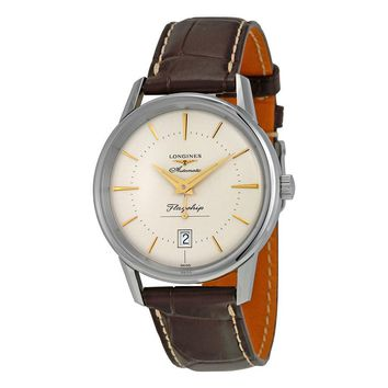 Longines Heritage Flagship Automatic Silver Dial Brown Leather Mens Watch