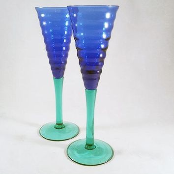 Blue and Green Champagne Flutes