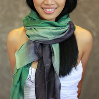 Green Scarf - Silk Cotton Scarf - Hand Dyed Scarf, infinity, shawl, green wrap, headband, perfect birthday present - JooJoobs