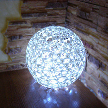 Table lamp, Crocheted lamp, accent lamp, night light