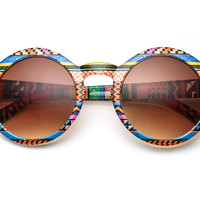 80's - aztec printed rounded wayfarer sunglasses
