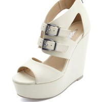 Cut-Out Belted Peep Toe Platform Wedges by Charlotte Russe - Stone