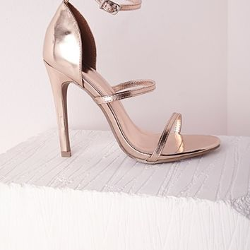 THREE STRAP BARELY THERE HEELED SANDALS ROSE GOLD