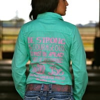 BE STRONG AND COURAGEOUS (Mint Button Up)