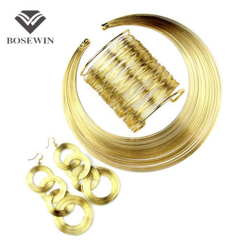 Women Fashion Jewelry Set All Clothes Match Multilayer Metal Wire Chokers Necklace Bangle Earring Sets 2016 Indian Trendy Gift