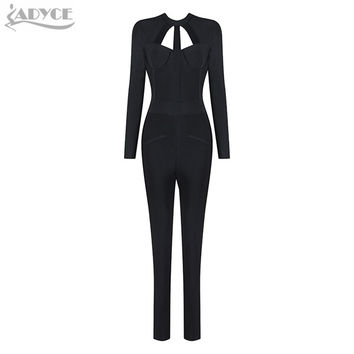 2016 Winter New Celebrity Runway Bandage Jumpsuit Black Bodycon O neck Long Sleeve Hollow out Backless Rompers Womens Jumpsuit