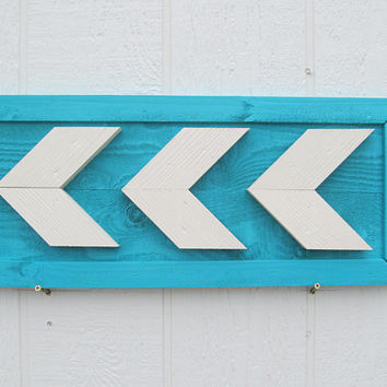 Arrow Chevron Wall Art ~ Wood Painted In Aqua & White