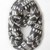 AEO Women's Shimmery Intarsia Loop Scarf (Charcoal)