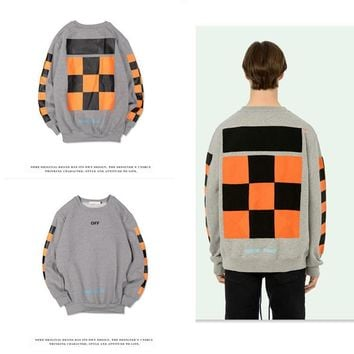 Hoodies Geometric Round-neck Simple Design Patchwork Plaid Pullover Sponge [11218583303]