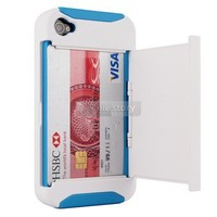 Blue/White Credit Card Hard Shell Stand Combo Case Cover For  iPhone 4 4S 4G 32B