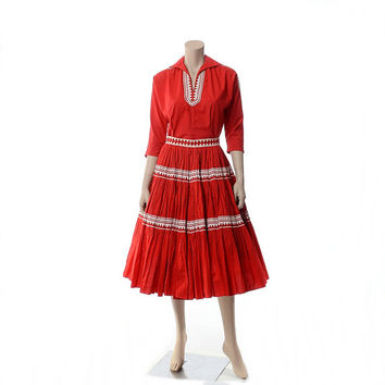 Vintage 50s 60s Red Patio Squaw Dress 1950s 1960s Southwestern Indian Rockabilly 2 piece Top + Full Circle Skirt Square Dance Outfit