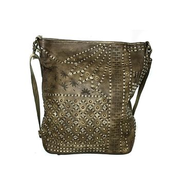 Leather Woman Hobo Washed Dip Dyed Designer Hand Embroidered Bag
